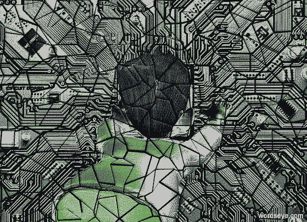 Input text: a [cp] backdrop.a 50 inch tall gray man.the man is facing north.the shirt of the man is gray.a 500 inch tall malachite green illuminator is above the man.
