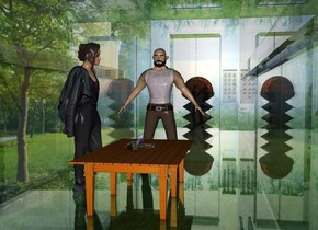 a clear white elevator.the elevator is 50 feet deep.the elevator is 10 feet wide.the elevator is 12 feet tall.a man is -25 feet behind the elevator.he is facing north.a table is behind the man.a shiny gun is on the table.the gun is leaning 90 degrees to the left.a woman is right of the table.she is facing the table.a 1st 6 feet tall structure is in front of the elevator.