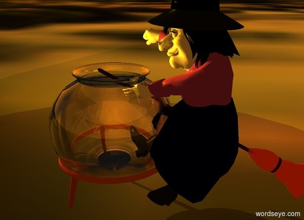 Input text:  ground is [smoke]. a 100 inch tall clear cauldron is  1 feet above the ground. three old gold lights are -4 inches above the cauldron. the  azimuth of the sun is -60 degrees. the  altitude of the sun is 20 degrees.  sun is orange.  a olive light is 8 inches above the cauldron..a 200 inch tall witch is -60 inch right of the cauldron.the witch is facing the cauldron.camera light is black.ambient light is old gold.