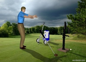 a 4 feet tall pump.a 3.5 feet tall cart is 3 feet left of the pump.a ball is right of the pump.a man is in front of the cart.he is facing the pump.a small golf bag is behind the cart.a golf club is right of the man.it is leaning 45 degrees to the man.