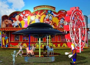 a ride.a large alien is left of the ride.a shiny ferris wheel is 20 feet right of the ride.circus backdrop.the alien is facing the ride.a large clown is in front of the ride.the clown is facing the alien.a large man is behind the ride.