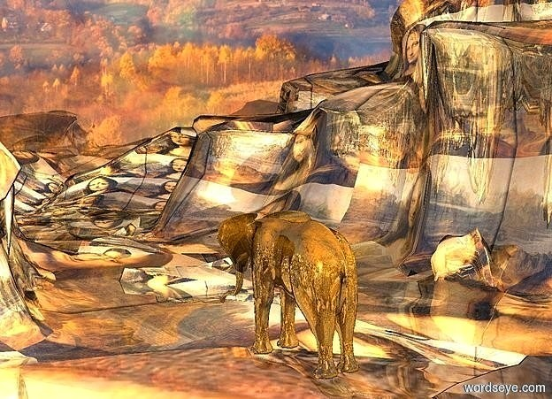 Input text: ground is 10000 inch wide [KAWE14].ground is shiny.a shiny forest backdrop.ground is visible.a 40 inch tall  70% dim shiny orange elephant 800 inch above the ground.the elephant is facing southeast.