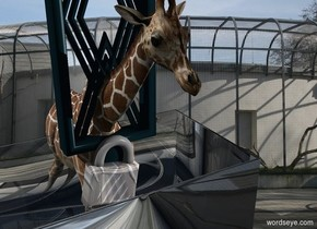 A clear lamp is upside down. An extremely tiny giraffe is -1.9 feet above the lamp. Cage backdrop. The sky is cage. A shiny [metal] padlock is -7 inch in front of and -10.5 inch above the giraffe. It is leaning 10 degrees to the left. Camera light is black. A light is right of and in front of the padlock.