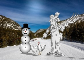 Two white chickens are next to a white farmer. A white snowman is left of the chickens. The snowman is facing southeast. The altitude of the sun is 70 degrees. The sun is silver.