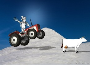 A tractor is leaning back. A small farmer is -3 feet above the tractor. He is facing northeast. A small white cow is 3 feet in front of the tractor.