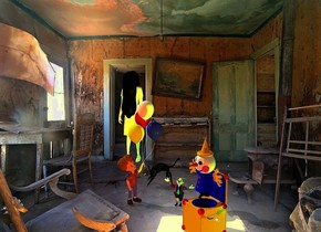 room backdrop.a ghost.pale shadow plane.a giant toy is 7 feet in front of the ghost.it is 4 feet right of the ghost.the toy is facing southwest.a rust light is 1 feet in front of the toy.a green light is 6 inches in front of the ghost.a boy is behind the toy.he is 1 feet left of the toy.the boy is facing the toy.a tiny clown is right of the boy.a lime illuminator is 6 inches right of the toy.camera light is black.ambient light is tan.a cat is 15 inches behind the clown.it is -4 inches left of the clown.a large black spider is 6 inches left of the boy.it is behind the boy.the cat is facing the spider.