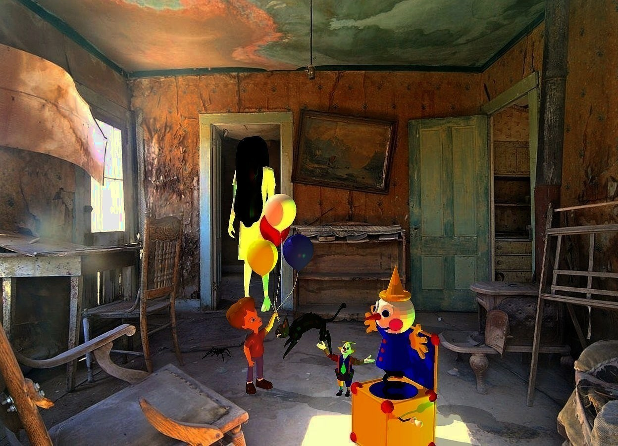 Input text: room backdrop.a ghost.pale shadow plane.a giant toy is 7 feet in front of the ghost.it is 4 feet right of the ghost.the toy is facing southwest.a rust light is 1 feet in front of the toy.a green light is 6 inches in front of the ghost.a boy is behind the toy.he is 1 feet left of the toy.the boy is facing the toy.a tiny clown is right of the boy.a lime illuminator is 6 inches right of the toy.camera light is black.ambient light is tan.a cat is 15 inches behind the clown.it is -4 inches left of the clown.a large black spider is 6 inches left of the boy.it is behind the boy.the cat is facing the spider.