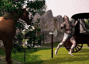 An axe is 3 feet right of a horse. It is facing northeast. The horse is facing the axe. A carriage is 4 feet right of the axe. It is facing southeast. Camera light is black. 3 cream lights are above and in front of the horse. The sun is pink. A man is right of the axe. A dark bush is 1 foot left of the axe. The azimuth of the sun is 290 degrees.