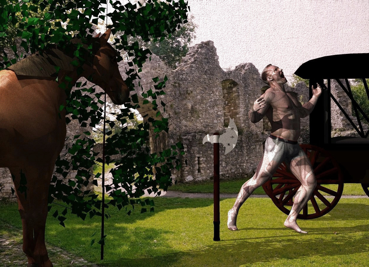 Input text: An axe is 3 feet right of a horse. It is facing northeast. The horse is facing the axe. A carriage is 4 feet right of the axe. It is facing southeast. Camera light is black. 3 cream lights are above and in front of the horse. The sun is pink. A man is right of the axe. A dark bush is 1 foot left of the axe. The azimuth of the sun is 290 degrees.