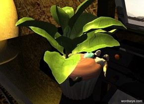A spinach is on a pale cake. The cake is on a 20% shiny black table. It is -8 inch in front of and -2 feet left of the table. The ground is grass. Camera light is black. 2 lemon lights are above and left of the table. 2 dim lights are above and in front of the spinach. An 80% dark [dirt] wall is behind the table. A long 70% dark rug is in front of the wall. A large shiny vase is 2 feet left of the table. A box is behind and 4 inch right of the cake. A cane is right of the vase. It is leaning back. It is facing north.  The extremely tiny woman is -6.8 inches above the spinach. She is facing up. the extremely tiny man is -2 inches to the right of the woman. he is -2.3 inches above the woman. He is face up.