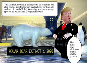 "ground is visible. a 6 feet wide and 3 feet deep and 2 feet tall black cube is -1 feet above the ground. it faces southeast. ground is 5 feet wide water. a polar bear is on the cube. it faces northeast.  backdrop. a man is 1 feet right of the cube. the tie of the man is red. the suit of the man is black.a head is -1.4 feet above and -1 feet in front of and -2.32 feet left of the man. Gold 5 inch tall and 5.5 feet wide ""POLAR BEAR EXTINCT c. 2020"" is -8 inch above and -4 feet in front of and -6.5 feet left of the cube. it faces southeast. a 7 inch tall man is -1.2 feet left of and -1.39 feet above and -1.1 feet in front of the man. a 1.4 inch tall head is -1.63 inch above and -.34 inch in front of and -4.34 inch left of the man.it leans right.a 2 feet tall and 2 feet wide white cylinder is 4 feet behind and -8 feet left of the cube. a penguin is on the cylinder. a 12 feet deep and 4 feet wide and 2 feet tall gold cube is -13 feet in front of and 20 feet left of the cube. a wooly mammoth is .1 inch above and -8 feet behind the gold cube. it faces back.a coral light is on the wooly mammoth. a lavender light is on the polar bear. the ambient light is igloo blue. the sun is straw yellow. camera light is azure blue"