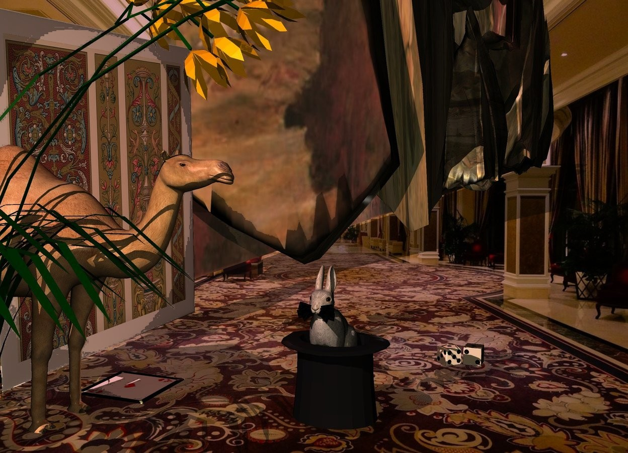 Input text: A flat flat. A brown light is in front of the flat. A mirror wall is right of the flat. An extremely tiny camel is -1 inch in front of and left of the flat. The sun is pink. Ambient light is black. A tiny hat is in front of and right of the camel. It is upside down. A tiny rabbit is -1 inch above the hat. It is facing west. A small cream die is 4 inch right of and in front of the hat. It is facing northwest. A small 70% dark cream die is in front of the die. A small card is right of the camel. It is leaning 90 degrees to the back. A small narthecium is -2 inch left of the card. Camera light is cream.
