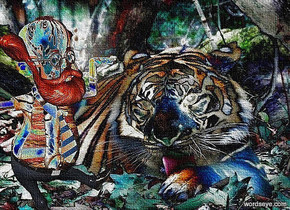 a [ht] backdrop.a 50 inch tall [tiger] man.the shirt of the man is 20 inch wide [tiger].the man is facing southeast.