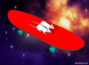 The backdrop is outer space. There is an big red skateboard. There are two big rats on top of the skateboard. ""