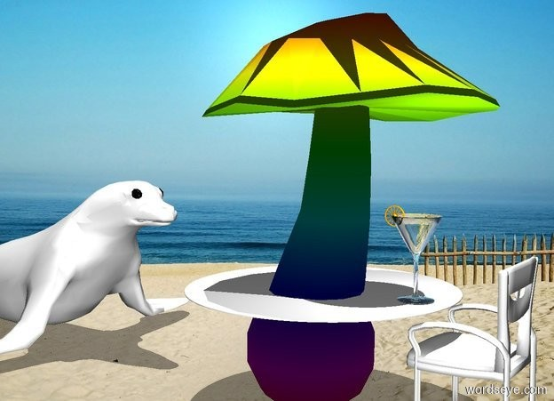 Input text: a 10 foot tall rainbow mushroom. a 7 foot wide white circle is -6.9 feet above and -5.3 feet right of the mushroom. a 4 foot tall chair is 1 foot left of the mushroom. its back is white. its cushion is white. its post is white. it faces the mushroom. it is noon. a big light is 2.2 foot above and -1 feet left of the circle. a 2 foot tall glass is on and -1.5 foot left of the circle. a .5 foot tall orange wagon wheel is -.3 feet above and -.3 feet right of the glass. it faces left. a very large white seal is 3.5 foot right of the mushroom. it faces back.
