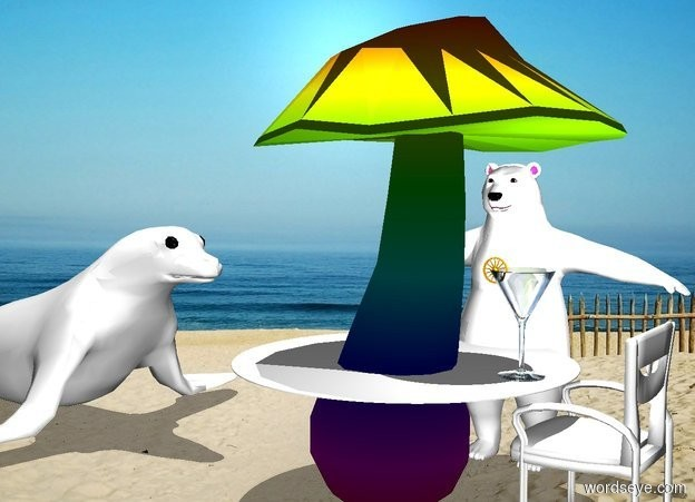 Input text: a 10 foot tall rainbow mushroom. a 7 foot wide white circle is -6.9 feet above and -5.3 feet right of the mushroom. a 4 foot tall chair is 1 foot left of the mushroom. its back is white. its cushion is white. its post is white. it faces the mushroom. it is noon. a big light is 2.2 foot above and -1 feet left of the circle. a 2 foot tall glass is on and -1.5 foot left of the circle. a .5 foot tall orange wagon wheel is -.3 feet above and -.3 feet right of the glass. it faces left. a very large white seal is 3.5 foot right of the mushroom. it faces back.a 7 feet tall polar bear is 1 feet in front of the mushroom. it faces the mushroom.