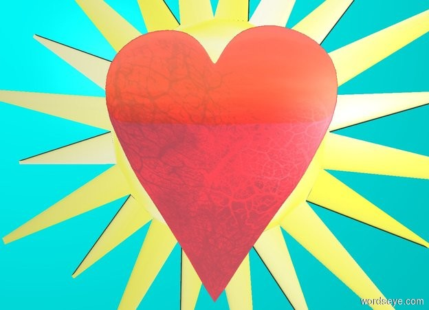 Input text: cyan backdrop. a flat shiny red heart. flat yellow sun symbol is behind and -2.75 feet above the heart.