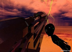 a shiny black gun.a 6 inch tall shiny alien is left of the gun.he is facing the gun.[image-11829]sky.a lime light is 6 inches left of the alien.terracotta sun.a lightning bolt is in front of the gun.