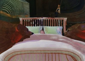 a 10 feet tall clear white symbol.a shiny bed is 12 feet behind the symbol.the bed's pillow is powder blue.the bed's blanket is pale terracotta.a woman is -5 feet above the bed.she is face up.the woman is leaning 30 degrees to the south.a midnight blue light is above the woman.fantasy backdrop.the ambient light is lilac.the sun is malachite green.a 1st bear is -3 feet left of the bed.it is facing the bed.a rust light is in front of the 1st bear.a 2nd bear is -2 feet right of the bed.it is facing the bed.a red light is in front of the 2nd bear.