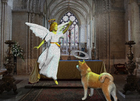 the dog is in the church. the silver halo is 1 inch above the dog. it is -9 inches in front of the dog. it is leaning back. the 4 foot tall angel is 10 inches in front of the dog. it is facing the dog.  the cyan light and the yellow light are two feet above the halo.