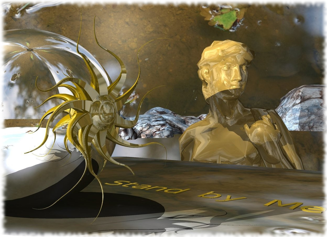 "Input text: River Backdrop. A huge silver sphere is on a River Mat. River Sky. A [Phoenix] River is -210 feet in front of the sphere. A large 30% shiny man is right of and -18 feet above the mat. He is facing the sphere. Camera light is dim. A gold star is in front of the sphere. The azimuth of the sun is 340 degrees. The altitude of the sun is 70 degrees. A small gold ""Stand by Me"" is 4 inch right of and -2.8 feet in front of the sphere. It is leaning 90 degrees to the front. It is facing west. A light is 2 feet left of and -4 inch above the sphere."