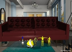 There is an extremely large brown couch. There is a yellow person in front of the couch. There is a second yellow person in front of the couch. There is a third yellow person in front of the couch. There is a fourth yellow person in front of the couch. There is a fifth yellow person in front of the couch. There is a blue cylinder above the fifth yellow person. The backdrop is a room.