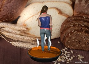 The backdrop is a bakery. A woman stands in a very large pie. The woman faces backwards. It is dinner time.