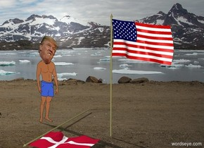 Trump is in Greenland. He is dim. A [image-14529] flag is leaning 90 degrees to the front. A flag is right of the flag.