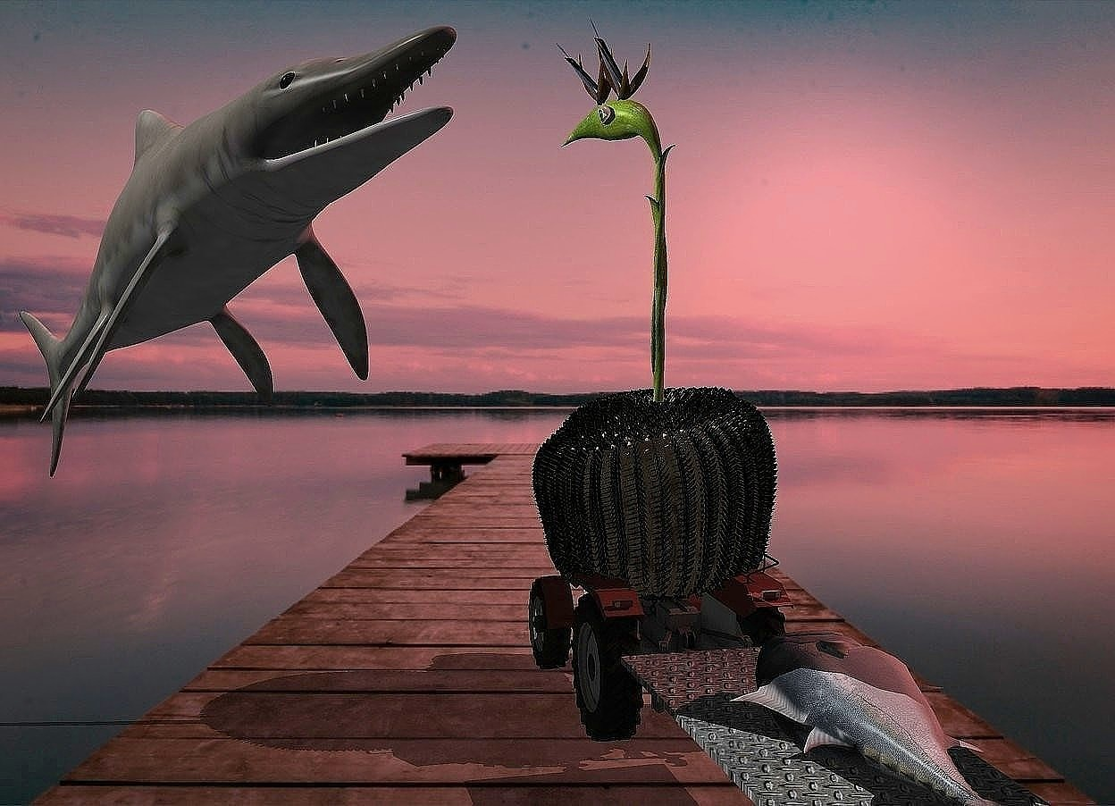 Input text: A [wheat] plant is -1 foot above a small tractor. A tiny fish is -1.3 foot above and right of the plant. It is leaning back. Camera light is black. A light is 1.5 feet above and right of the fish. The sun is scarlet. A 50% dark flower is -1 inch above and -1.9 feet left of the plant. It is facing northeast. A tiny [metal] trailer is behind the tractor. An object is behind and -4 feet left of the trailer. The fish is facing the object. An eye is -10 inch above and -6 inch right of the plant. It is facing the fish. A fish is on and -4 feet in front of the trailer. It is leaning 90 degrees to the left.