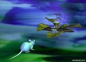 The image backdrop.a [glass] animal.pale shadow plane.a [glass] flower is 6 inches in front of the animal.a green light is left of the animal.a yellow light is above the flower.