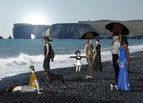Lake background. The azimuth of the sun is 200 degrees. A small dog is in front of a baby blue woman. A man is left of the woman. The shirt of the man is grey. A dark brown umbrella is -2 feet above the man. It is leaning back. A 2 feet high dog is 5 feet in front of the man. A 2.5 feet high grey boy is right of and in front of the dog. The shirt of the boy is 60% dark orange.  A tree is 3 feet in front of the boy. A woman is 5 feet left of and behind the boy. A woman is 4 feet behind the woman. She is facing east. A dark marmalade umbrella is -2 feet above the woman. It is leaning 10 degrees to the front. A 4 feet high girl is -1 foot in front of the woman. She is facing east. A man is 6 feet left of and 2 feet behind the girl. A very tiny 50% dark cream boat is 6 feet in front of and 4 feet left of and above the man. The sail of the boat is 80% dark cream. The boat is facing southwest.