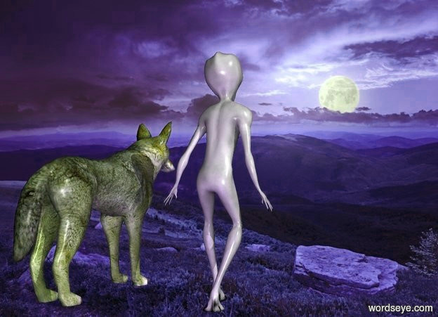 Input text: night backdrop.a wolf.pale shadow plane.a alien is 1 feet left of the wolf.a midnight blue light is 6 inches behind the alien.
