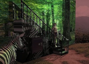 A [spiral] staircase is in front of a large [leaf] wall. The azimuth of the sun is 80 degrees. 3 green lights are right of and above the staircase. Camera light is brown. The sun is maroon. A man is -10 feet above and -2.5 feet right of the staircase. A zebra is 2 feet left of and in front of the staircase. It is facing the staircase. A cream light is -6 inch in front of and -1.5 feet above the man. A shiny box is 5 feet left of and -2 feet in front of the man. A huge key is on and -3 inch in front of the box.