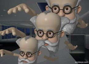 a large professor leans 30 degrees to the front. its shirt is white. its hair is white. its mustache is white. its beard is white. its eyebrow is white. a professor is -3 feet beneath and -5 feet in front of the professor. it leans to the front. its shirt is white. its hair is white. its mustache is white. its beard is white. its eyebrow is white.  a small professor is -1.75 feet beneath and -2.5 feet in front of the professor. it leans to the front. its shirt is white. its hair is white. its mustache is white. its beard is white. its eyebrow is white.  it is night. a huge gray light is 5 feet in front of the professor. camera light is silver. ambient light is gray.