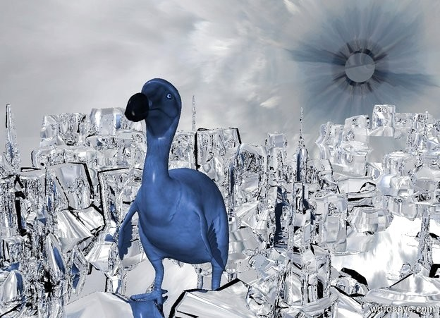 Input text: silver ground is 100 feet wide and 100 feet deep and 10 feet tall. a very large cornflower blue dodo. sky leans 90 degrees to the front.