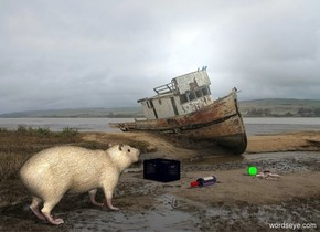 ruin backdrop.a animal.a bottle is 2 feet in front of the animal.it is face up.a small crate is 1 feet right of the bottle.a ball is 5 feet in front of the animal.it is facing southeast.a crab is left of the ball.it is facing the ball.