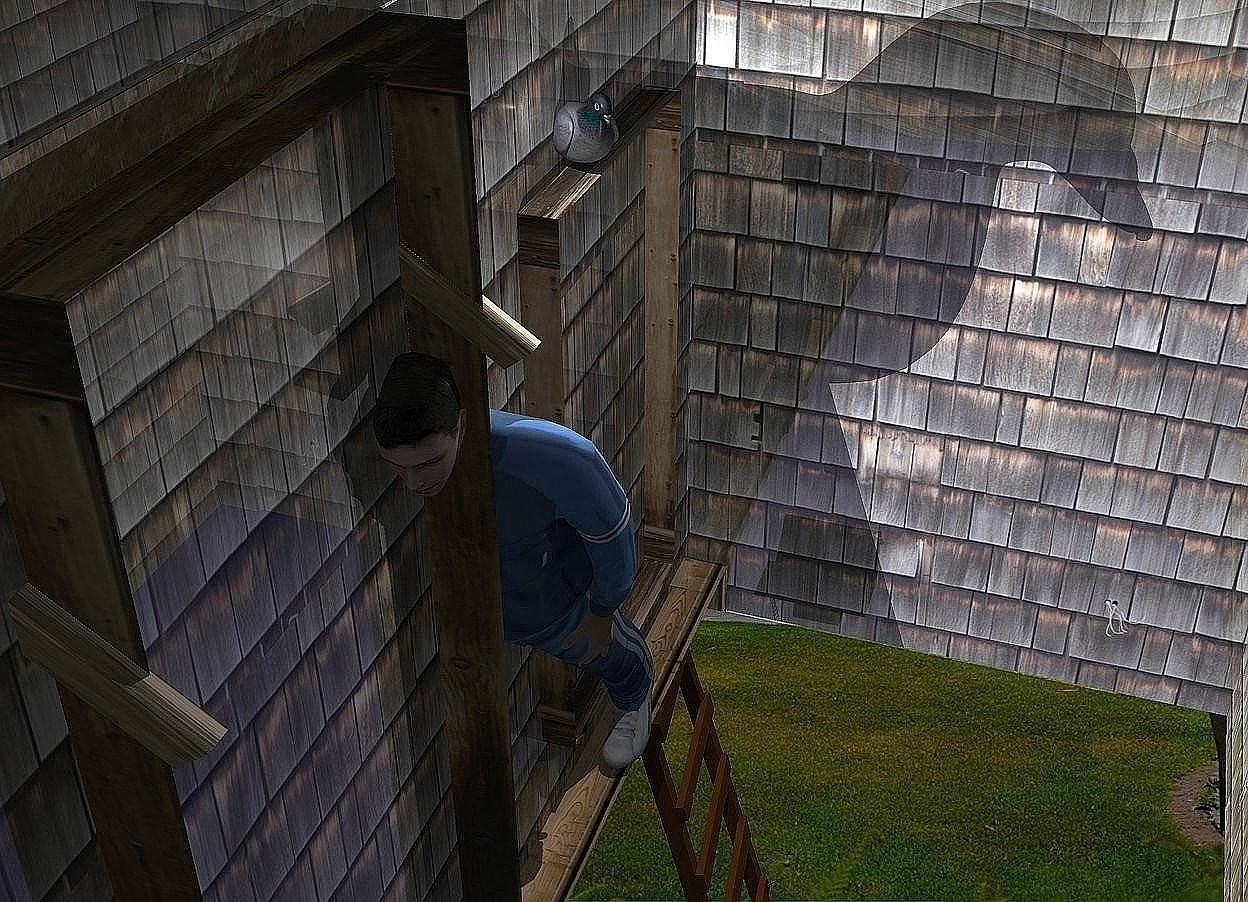 Input text: A man is -7 feet in front of and -22 feet above a 20% shiny house. He is facing east. He is leaning 30 degrees to the front. Camera light is black. A light is above and -2 feet left of the man. 2 dim lights are behind and -1 foot above the man. A pigeon is -4.5 inch above and -1.3 foot left of the man. It is facing northeast. It is leaning forward. A ladder is -20 feet above and 2 feet left of the man.