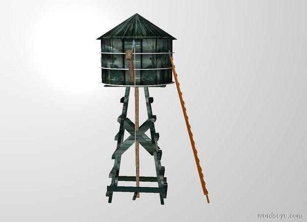 Input text:  20 feet tall and 8 feet wide and 8 feet deep wood windmill. a 5.5 feet tall and 9 feet wide and 9 feet deep wood barrel is -5.5 feet above the windmill. a 3 feet tall and 9.5 feet wide and 9.5 feet deep wood cone is -.4 feet above the barrel. a 18 feet tall ladder is -.3 feet right of the windmill. it faces left. the shaft of the windmill is metal. 1st 4 feet tall and .5 feet wide and .5 feet deep [metal] tube is -5 feet above and -.7 feet in front of the barrel.it leans 37 degrees to the front. a 1 feet tall and .75 feet wide and .7 feet deep [metal] paper cup is -1.28 feet above and -.65 feet in front of the tube. it leans 39 degrees to the back. 2nd 1 inch wide 14 feet tall  tan tube is -.1 inch  right of and -13 feet above and -.5 feet behind the 1st tube. a silver donut is -.95 feet above and -.85 feet behind the 2nd tube.it faces left. 3rd 1 inch wide and 2.4 feet tall tan tube is -1.47 feet above and -.6 feet in front of the donut. it leans 128 degrees to the front. a tan golf ball is -.2  feet beneath the 2nd tube. backdrop is white.