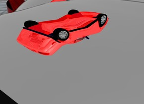 a 1st 40 inch tall and 20 inch wide clear red car. the car is upside down. . a 2nd 40 inch tall and 20 inch wide clear blue car is right of the car. the 2nd cone is upside down. ground is visible. ground is 500 inch wide [steel]. ground is 80 feet tall. a 3rd 20 inch tall and 50 inch wide silver car is -4 inch above the car. the 3rd cone is -47 inch left of the car. three petrol blue lights are in front of the car. ambient light is gray. . the 3rd cone leans 9 degrees to the front. a 30 inch tall and 35 inch wide silver sphere is -23 inch above the 3rd cone. a 1st 5 inch tall pump shoe is below the 2nd cone. the 1st shoe is -12 inch left of the car. a 2nd 5 inch tall pump shoe is 16.5 inch right of the 1st pump shoe. a 10 inch tall shiny super red car  is 7 inch above the sphere. a 4th 23 inch tall and 8 inch wide clear red cone is right of the sphere. the 4th cone is upside down. the 4th cone leans 25 degrees to right. a 5th 29 inch tall and 6 inch wide clear blue cone is left of the sphere. the 5th cone is upside down. the 5th cone leans 55 degrees to left. sky is gray. a [steel] backdrop. camera light is black.