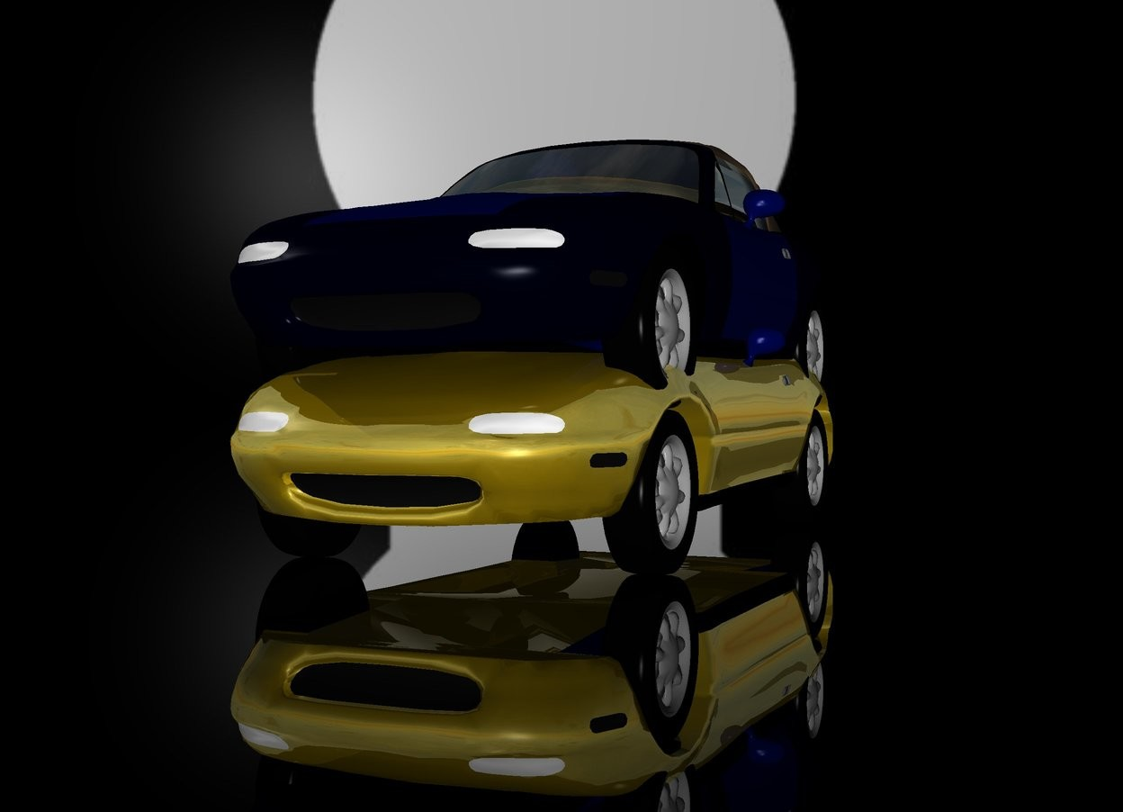 Input text: a 1st 100 inch tall shiny gold car. a [keyhole] backdrop. sun is gray. a huge blue illuminator. ground is visible. ground is 50 feet tall. ground is clear. a 2nd 100 inch tall car  is -53 inch above the car.