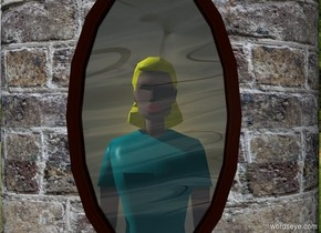 a 20 foot tall and 12 foot wide and 5 foot deep cylinder. The cylinder is 10 foot wide [brick]. a 4 foot wide window is 3 feet in front of and -12 feet above the cylinder. a large woman is behind and -5 feet beneath the window.her torso is teal. her shirtsleeve is teal. her skirt is teal. her hair is yellow.   sky is 5000 foot wide [water]. ground is invisible. shadow plane is invisible.  a white 8.5 foot tall and 4.95 foot wide flat white sphere is .5 foot behind the woman. it is -8 feet above the window. a .1 foot tall gold light is behind and -2 feet above the woman. sun is silver.