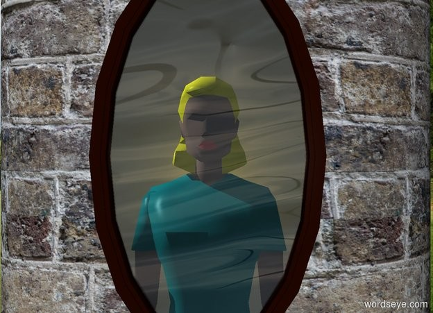 Input text: a 20 foot tall and 12 foot wide and 5 foot deep cylinder. The cylinder is 10 foot wide [brick]. a 4 foot wide window is 3 feet in front of and -12 feet above the cylinder. a large woman is behind and -5 feet beneath the window.her torso is teal. her shirtsleeve is teal. her skirt is teal. her hair is yellow.   sky is 5000 foot wide [water]. ground is invisible. shadow plane is invisible.  a white 8.5 foot tall and 4.95 foot wide flat white sphere is .5 foot behind the woman. it is -8 feet above the window. a .1 foot tall gold light is behind and -2 feet above the woman. sun is silver.