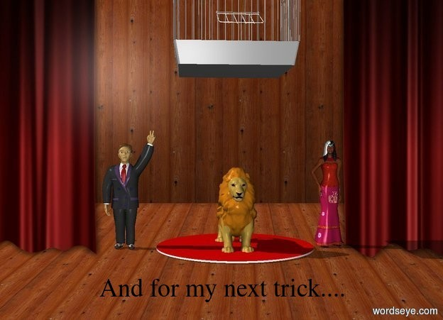 Input text: A lion is in a theater. A man is 3 feet to the left of the lion, There is a red rug under the lion. There is a woman 3 feet to the right of the lion. There is a giant cage 5 feet above the lion.