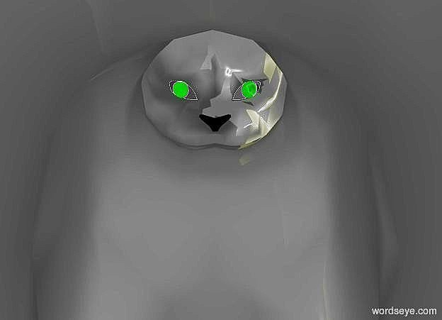 Input text: a 1000 inch tall cat.ambient light is gold.the pupil of the cat is green.a 1500 inch tall yellow illuminator.a red light is behind the cat.the red light is -300 inch above the cat.