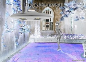 the alien is in the courtyard. the tiny UFO is a foot in front and above the alien.