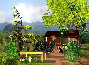 a garden.a man is behind the garden.a cabin is 20 feet behind the man.a yellow light is 2 feet in front of the garden.a tree is behind the cabin.a dog is right of the man.it is facing southwest.