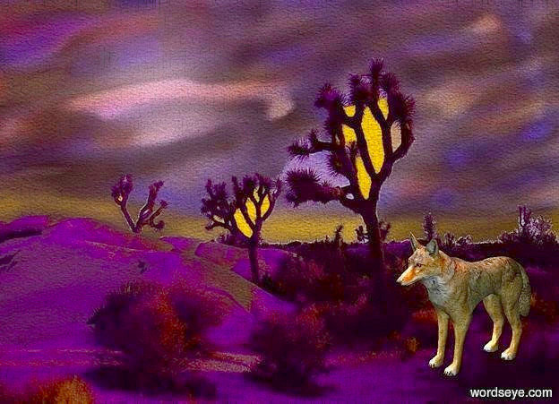 Input text: a [ja] backdrop.a 30 inch tall coyote.the coyote is facing southwest.four lilac lights are 20 inch above  the coyote.