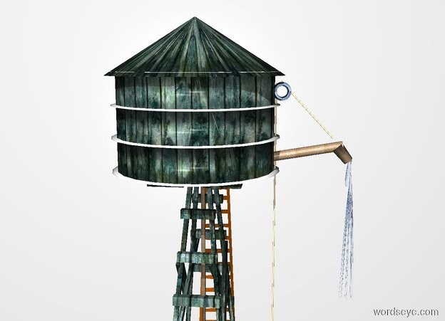 Input text:  20 feet tall and 8 feet wide and 8 feet deep wood windmill. a 5.5 feet tall and 9 feet wide and 9 feet deep wood barrel is -5.5 feet above the windmill. a 3 feet tall and 9.5 feet wide and 9.5 feet deep wood cone is -.4 feet above the barrel. a 18 feet tall ladder is -.3 feet right of the windmill. it faces left. the shaft of the windmill is metal. 1st 4 feet tall and .5 feet wide and .5 feet deep [metal] tube is -5 feet above and -.7 feet in front of the barrel.it leans 80 degrees to the front. a 1 feet tall and .75 feet wide and .7 feet deep [metal] paper cup is -1.28 feet above and -.65 feet in front of the tube. it leans 39 degrees to the back. 2nd 1 inch wide 14 feet tall  tan tube is -.1 inch  right of and -11 feet above and -.5 feet behind the 1st tube. a silver donut is -.95 feet above and -.85 feet behind the 2nd tube.it faces left. 3rd 1 inch wide and 4.1 feet tall tan tube is -3 feet above and -.6 feet in front of the donut. it leans 137 degrees to the front. a tan golf ball is -.2  feet beneath the 2nd tube. backdrop is white. a clear 8 feet tall and 8 inch wide and 9 inch deep clear octopus is -.4 feet beneath and -.5 feet in front of the cup.