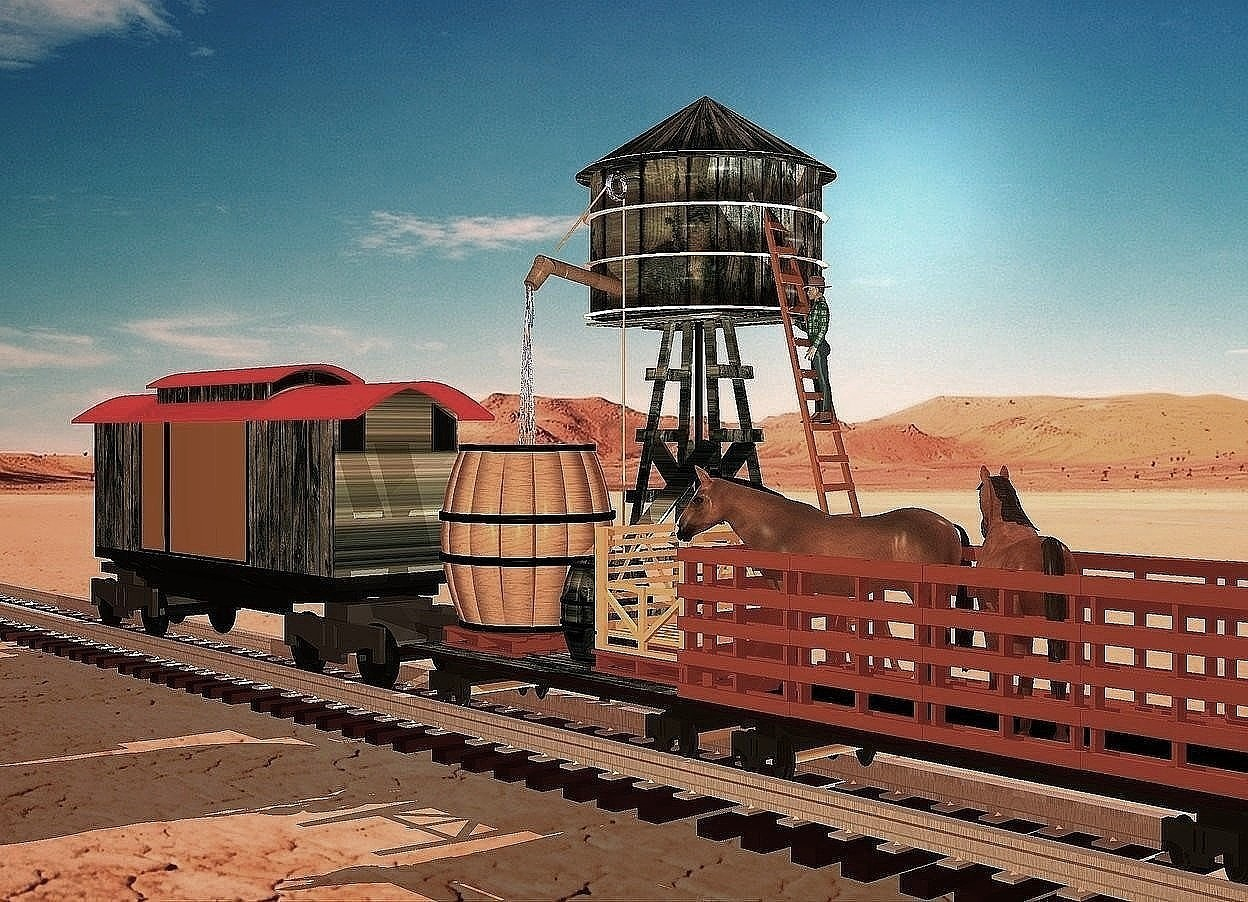 Input text:  a 12 feet tall and 6 feet wide and 30 feet long caboose  is -.2 feet above a 200 feet long and 8 feet wide track. the rail of the track is [metal].  1st railroad flatcar is  14 feet long and 6 feet wide and -.4 feet behind the caboose.a 2 feet tall 2 inch wide and 2 inch deep [metal] cube is -.5 feet behind and -11.2 feet above the caboose. 1st pallet is -5.5 feet in front of and on the flatcar. it faces left. 1st large wood barrel is on the pallet. 2nd wood barrel is .5 feet behind the 1st pallet. 2nd pallet is .1 feet behind the 2nd barrel. it faces left. a crate is on the 2nd pallet. it faces right. the deck of the flatcar is wood.  the wall of the caboose is wood. cattlecar is -.1 feet behind the flatcar. 1st horse is -4 feet above and -6 feet in front of the cattlecar. it faces southeast. 2nd horse is -4 feet above and -12 feet in front of the cattlecar.it faces southwest. the water tank is -2 feet left of and -10 feet behind the 2nd barrel. it is on the ground. it faces the right.a 5 feet tall man is -9.7 feet right of and -12 feet above and -11 feet to the front of the water tank. he faces southeast. ambient light is coral.camera light is dim orange. sage green light is 10 feet right of and above the 1st horse.