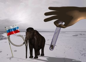 Snow backdrop. A mammoth is right of a [Russia] flag. The flag is leaning right. A test tube is 8 feet right of and 10 feet in front of and -2 feet above the mammoth. It leans left. A hand is -2 inch above and -4.7 inch right of the test tube. It is leaning 90 degrees to the right. A 1 inch high mammoth is -6.8 inch above and -3.2 inch right of the test tube. It is leaning 10 degrees to the left. Camera light is black. A light is right of the mammoth. The sun is grey. The altitude of the sun is 30 degrees.